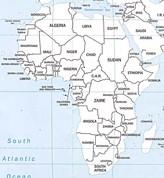 Map Of Africa With Countries And Capitals.Maps Of Africa And Ghana